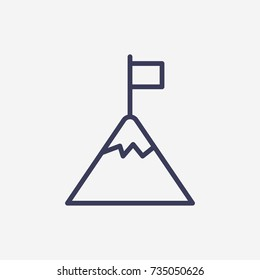 Outline flag on mountain icon illustration vector symbol