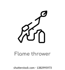 outline flame thrower vector icon. isolated black simple line element illustration from miscellaneous concept. editable vector stroke flame thrower icon on white background