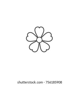 Outline flat icon of forget-me-not flower with big core. Contour of bloom. Isolated on white. Vector illustration. Eco style. Nature symbol.