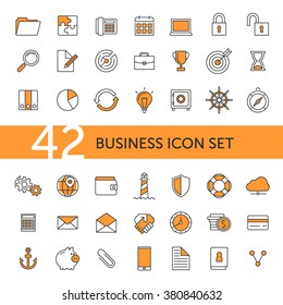 Outline flat orange business icon set