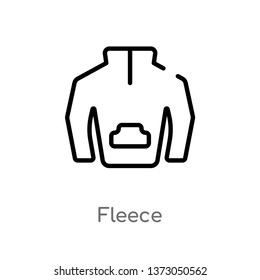 outline fleece vector icon. isolated black simple line element illustration from clothes concept. editable vector stroke fleece icon on white background