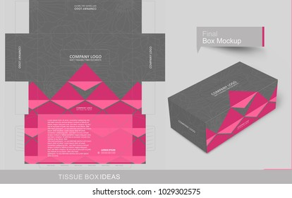 Outline floral pattern on tissue box with pink color accent. Tissue box template concept, template for Business Purpose, Place your text and logos and ready to go for print.