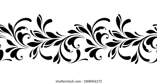 Outline floral seamless pattern. Ornamental border for background ribbon, fabric, wrapping, tape.