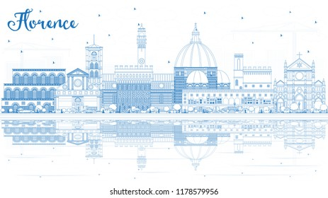 Outline Florence Italy City Skyline with Blue Buildings and Reflections. Vector Illustration. Business Travel and Tourism Concept with Modern Architecture. Florence Cityscape with Landmarks.