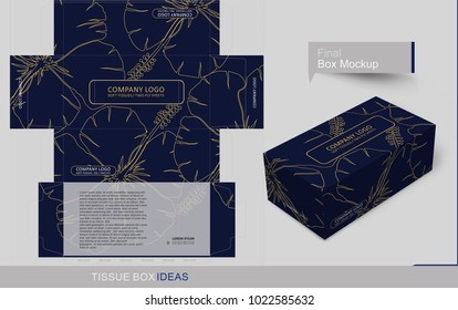 Outline flourished flower on dark blue background. Tissue box template concept, template for Business Purpose, Place Your Text and Logos and Ready to GO For Print.