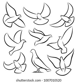 Outline flying doves, white birds and pigeons vector logos. Holy spirit, easter, love and peace design elements. Dove sketch, bird pigeon freedom and love illustration
