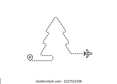 Outline Flying Plane Christmas Tree Icon Background
