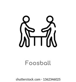 outline foosball vector icon. isolated black simple line element illustration from outdoor activities concept. editable vector stroke foosball icon on white background