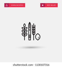 Outline Four Species food Icon isolated on grey background. Modern simple flat symbol for web site design, logo, app, UI. Editable stroke. Vector illustration. Eps10