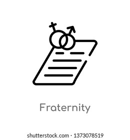 outline fraternity vector icon. isolated black simple line element illustration from education concept. editable vector stroke fraternity icon on white background