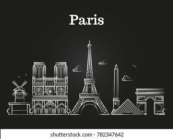 Outline french architecture, paris panorama city skyline vector. Vector illustration