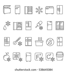 Outline Fridge Icons, Signs and Symbols Set. Kitchen Appliances,  Equipment, Freeze Refrigerator Line Vector Illustration. With Freezer, Portable Fridge, etc.