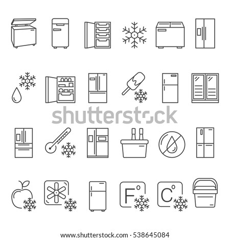 Outline Fridge Icons Signs Symbols Set Stock Vector Royalty Free