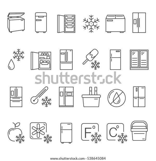 Outline Fridge Icons Signs Symbols Set Stock Vector (Royalty