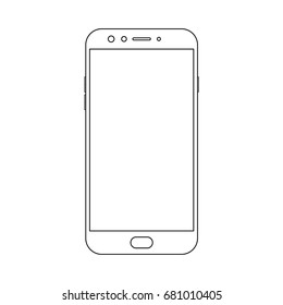 Outline front view smartphone with power and menu buttons, camera and empty screen on white background. Outline smartphone vector eps10.