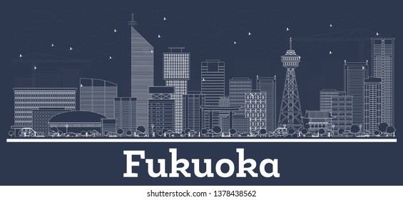 Outline Fukuoka Japan City Skyline with White Buildings. Vector Illustration. Business Travel and Concept with Modern Architecture. Fukuoka Cityscape with Landmarks.