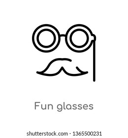 outline fun glasses vector icon. isolated black simple line element illustration from miscellaneous concept. editable vector stroke fun glasses icon on white background