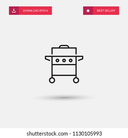 Outline Gas Grill Icon isolated on grey background. Modern simple flat symbol for web site design, logo, app, UI. Editable stroke. Vector illustration. Eps10