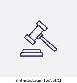 Outline gavel icon illustration,vector safety sign symbol