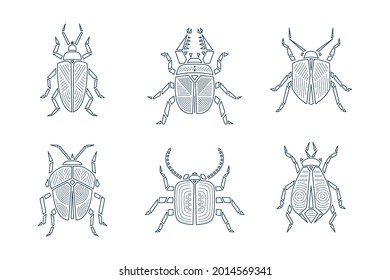 Outline Geometric Retro Bugs Vector Set. Black Abstract Beetles. Line Art Insects Collection