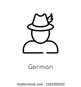 outline german vector icon. isolated black simple line element illustration from miscellaneous concept. editable vector stroke german icon on white background