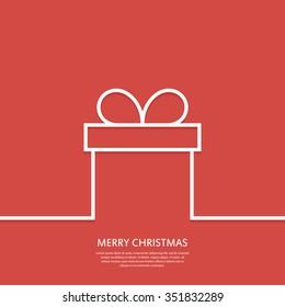 Outline gift box. Christmas card. Minimal Christmas abstract background. Vector illustration. Eps 10.