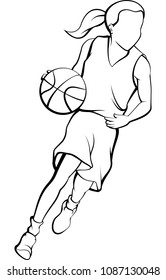 Outline of girl dribbling a basketball inside a basketball silhouette.