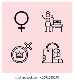 Outline girl icon set such as woman suffrage, selfie, gender