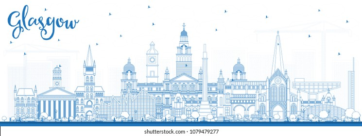 Outline Glasgow Scotland City Skyline with Blue Buildings. Vector Illustration. Business Travel and Tourism Concept with Historic Architecture. Glasgow Cityscape with Landmarks.