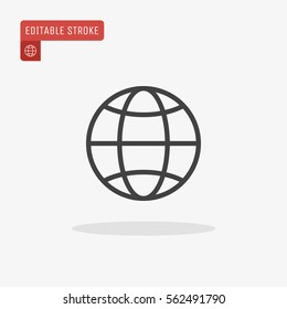 Outline Globe Icon isolated on grey background. World global network symbol for web site design, logo, app, UI. Editable stroke. Vector illustration. EPS10.