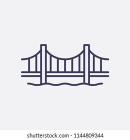 Outline golden gate bridge icon illustration,vector america sign symbol