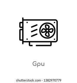 outline gpu vector icon. isolated black simple line element illustration from hardware concept. editable vector stroke gpu icon on white background