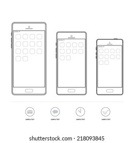 Outline graphic smartphone, mobile phone with info graphic icon, Vector illustration set.