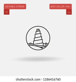 Outline Great Mosque Of Samarra icon isolated on grey background. Line pictogram. Premium symbol for website design, mobile application, logo, ui. Editable stroke. Vector illustration. Eps10