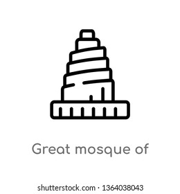 outline great mosque of samarra vector icon. isolated black simple line element illustration from monuments concept. editable vector stroke great mosque of samarra icon on white background
