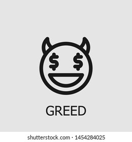 Outline greed vector icon. Greed illustration for web, mobile apps, design. Greed vector symbol.