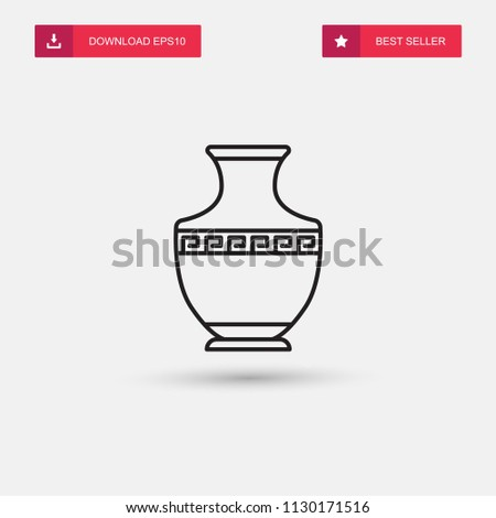 Outline Greek Vase Icon Isolated On Stock Vector Royalty Free