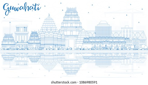 Outline Guwahati India City Skyline with Blue Buildings and Reflections. Vector Illustration. Business Travel and Tourism Concept with Historic Architecture. Guwahati Cityscape with Landmarks.