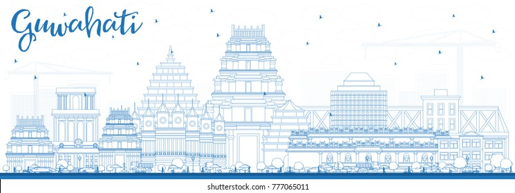 Outline Guwahati India City Skyline with Blue Buildings. Vector Illustration. Business Travel and Tourism Concept with Historic Architecture. Guwahati Cityscape with Landmarks.