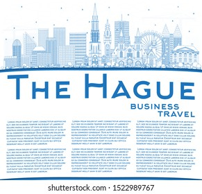 Outline The Hague Netherlands City Skyline with Blue Buildings and Copy Space. Business Travel and Tourism Concept with Historic Architecture. Hague Cityscape with Landmarks.