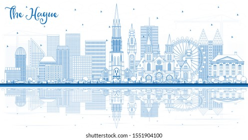 Outline The Hague Netherlands City Skyline with Blue Buildings and Reflections. Business Travel and Tourism Concept with Historic Architecture. Hague Cityscape with Landmarks.