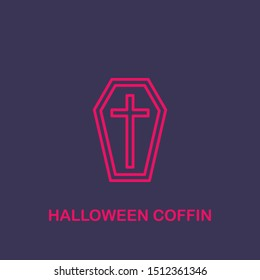 Outline halloween coffin  icon.halloween coffin  vector illustration. Symbol for web and mobile