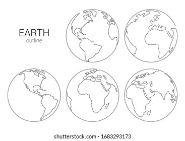 Outline hand drawn Earth set. Vector Illustration. Planet earth isolated on white background. Planet set for logo, cards, banners. Earth globe, one line drawing of world map
