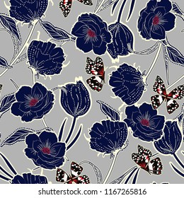 Outline hand drawn graden in the dash botanic dark blue flowers with butterflies ,design for fashion,fabric,wallpaper and all prints on light grey background color