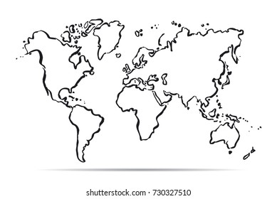 Outline Hand drawn Map of The World. Vector sketch and Illustration.