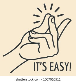 Outline hand with snapping finger gesture. Living easy concept vector background. Gesture hand finger snap and expression illustration