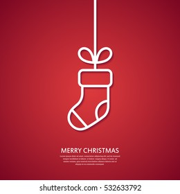 Outline hanging Christmas sock. Minimal Christmas abstract background. Christmas greeting card. Vector illustration.