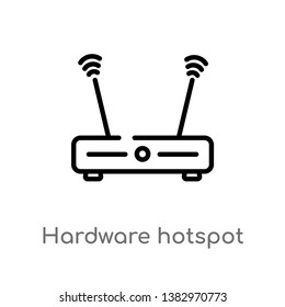 outline hardware hotspot vector icon. isolated black simple line element illustration from hardware concept. editable vector stroke hardware hotspot icon on white background