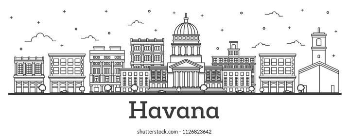 Outline Havana Cuba City Skyline with Historic Buildings Isolated on White. Vector Illustration. Havana Cityscape with Landmarks.