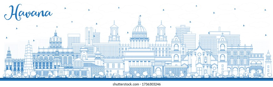 Outline Havana Cuba City Skyline with Blue Buildings. Vector Illustration. Business Travel and Tourism Concept with Historic and Modern Architecture. Havana Cityscape with Landmarks.